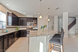 Interior Kitchen Side view Open plan with Island